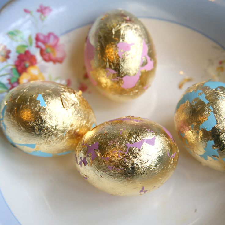 Step 8 - Here is my gold leaf transfer, decorated blown eggs.
