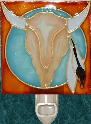 Handmade Southwestern Cow Skull Nightlight. Southwest Stained glass night light hand painted on textured art glass for home, kitchen and bathroom theme decor. Decorative creative artwork made by Pat Desmarais in the USA. $24.00