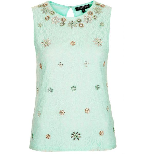 TOPSHOP Tall Embellished Lace Top found on Polyvore