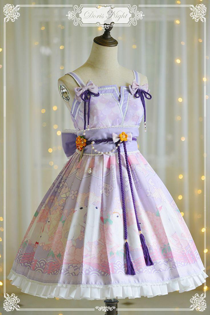 Doris Night -Cherry Blossom in Bunny's Garden- Kimono Style Wa Lolita Jumper Dress