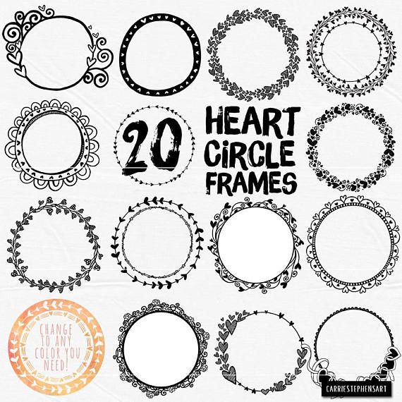 Circle Heart Border Clipart Wedding Monogram Frame Etsy Circle Frames Circle Borders Clip Art Borders