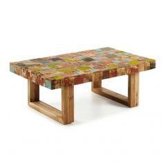 Deze salontafel is gemaakt van gerecycled teakhout zoals wij dat gewend zijn van LaForma