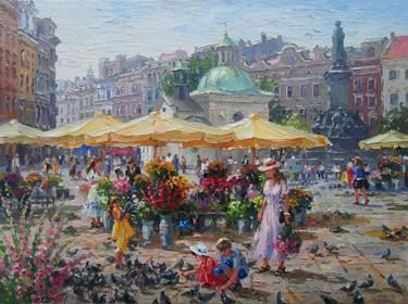"Artist Barbara Jaśkiewicz; Painting, ""Krakow Market Square"", palette knife oil on linen. Cityscape painting."
