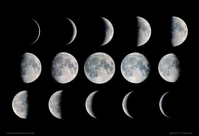 Fase-fase Bulan. Kredit: Fred Espenak/Astropixels.com   SpaceNesia -Fase-fase Bulan, Setiap harinya, bila kita rajin mengamati Bulan, k...