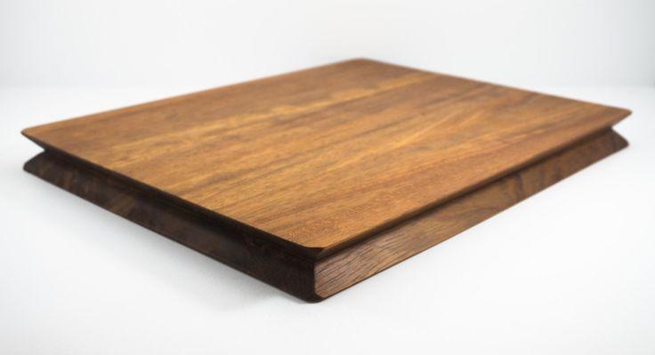 Modern Cutting Board | NOTCH Cutting Board | Edge Grain, African Teak, Built in Magnetic Knife Holder by SVNDesignStudio on Etsy https://www.etsy.com/listing/261535042/modern-cutting-board-notch-cutting-board