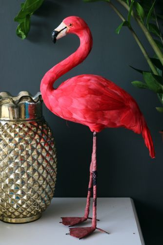 Domingo the Fabulous Flamingo - Artificial Bird. Taxidermy without the animal.£49. Height 50 cm.