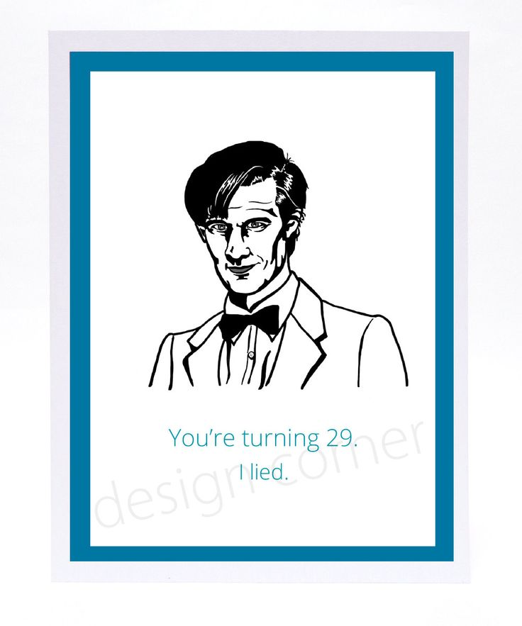 Funny Illustrated Dr Who Birthday Card by designcorner on Etsy