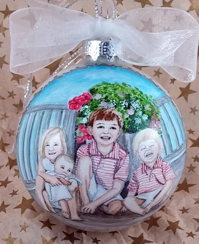 "https://flic.kr/p/PmRMtf | Brothers & Sisters Portrait Ornament | Custom hand painted 3 1/4"" pearl white glass ornament, with portrait of 4 children."