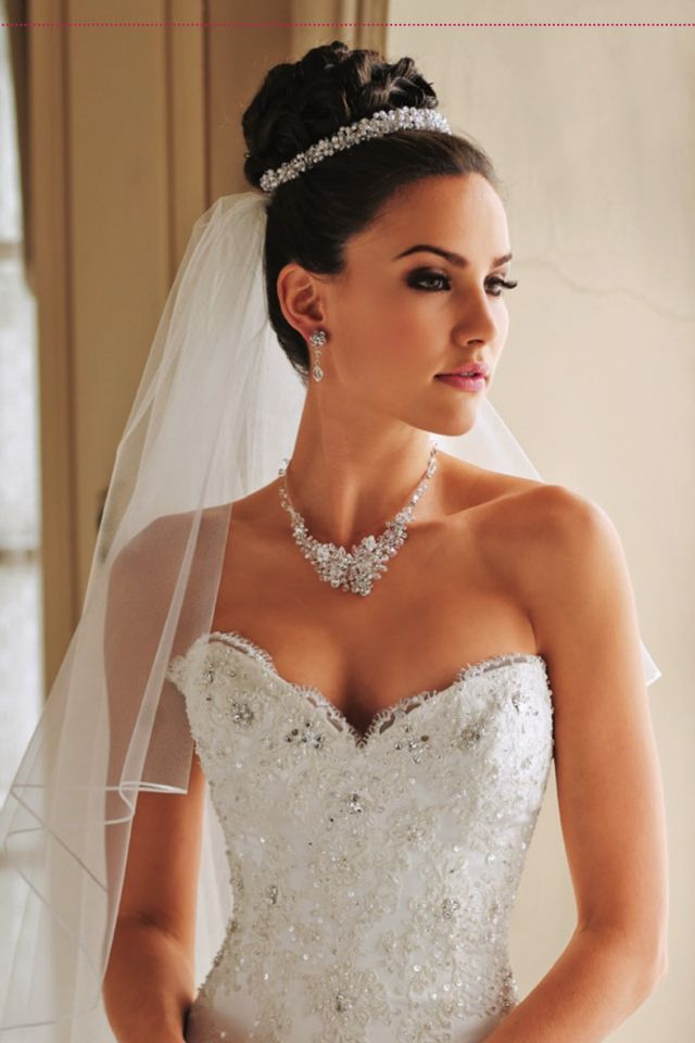 Updo Wedding hair, veil  jewellery - veil attached to the bun and hair piece