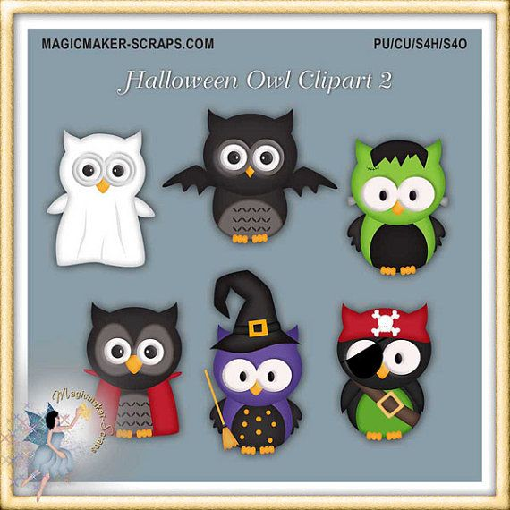 Halloween Owl Clipart part 2 by MagicmakerScraps on Etsy