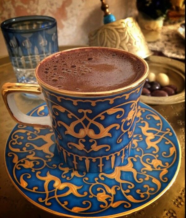 Turkish coffee in a fabulous cup. Get the recipe from http://www.turkishstylegroundcoffee.com/turkish-coffee-recipe/ #turkishcoffee #turkishcoffeerecipe