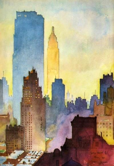 Art by John Held Jr.New York Skyline, New York Cities, The Cities, Watercolors Art, Cities Skyline, Chrysler Buildings, Water Colors, Empire State, Watercolors Painting