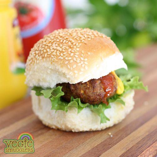 'Fun in a bun' - a vegie-smuggling basic! Beef patties with a bit of hidden stuff, too!