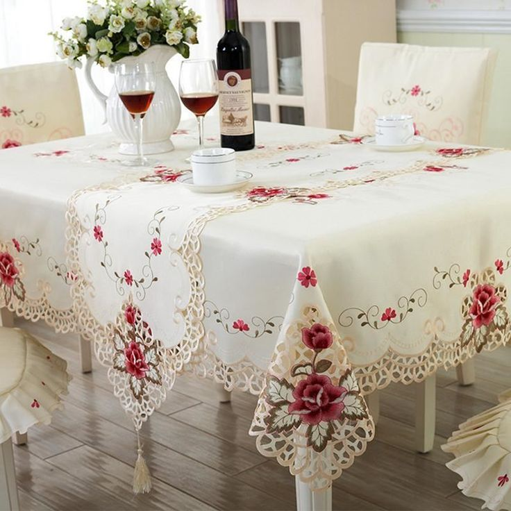 solid color embroidery decorate dining table cloth cover for home decor