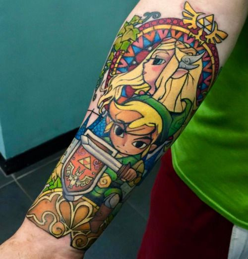 gamerink: Amazing Link and Princess Zelda tattoo done by Kayley South Tattoos.