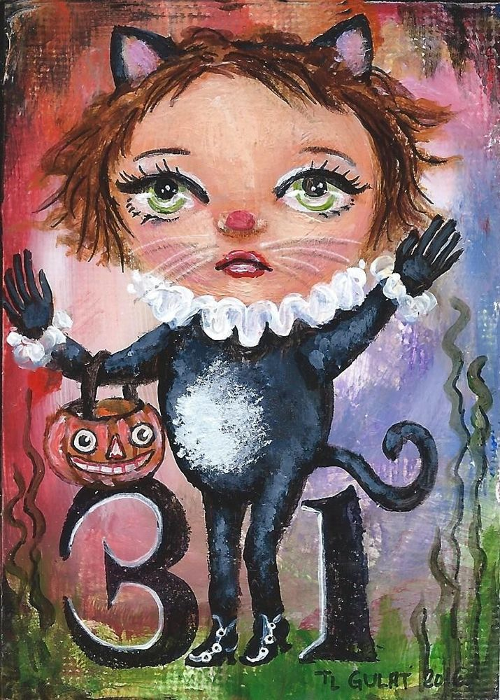 #ACEO #Halloween 31 Original #Miniature Acrylic #Painting Kitty #Cat #Costume Gulat    #ModernFolkArtOutsiderArt