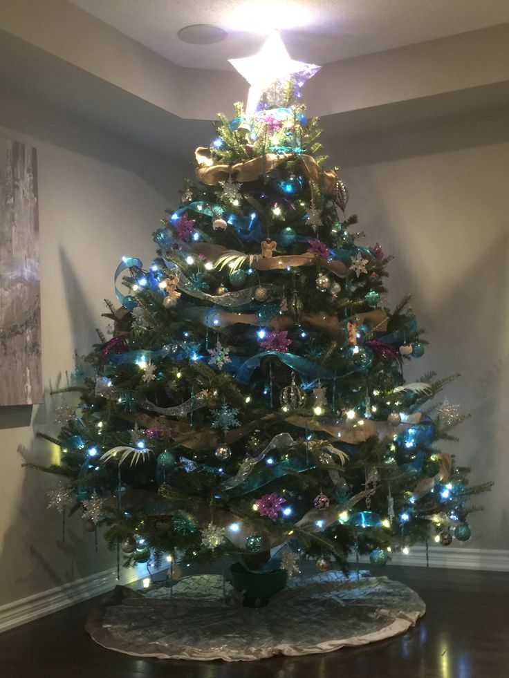 Our teal ... Silver and purple tree