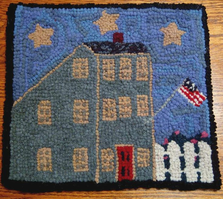 Antique Green Saltbox Primitive Hooked Rug Hooking Kit with Cut Wool Strips