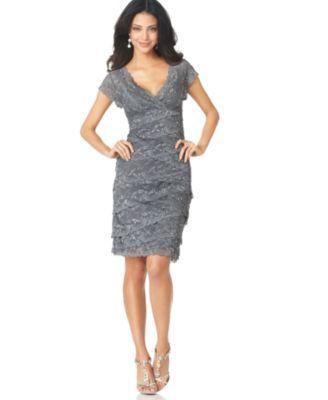 Marina Petite Cap-Sleeve Lace Dress