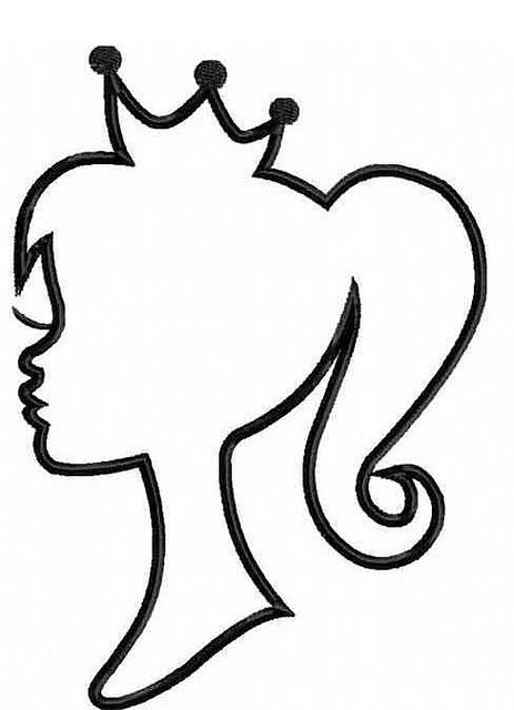 princess silhouette one color by threecscustomdesigns, via Flickr