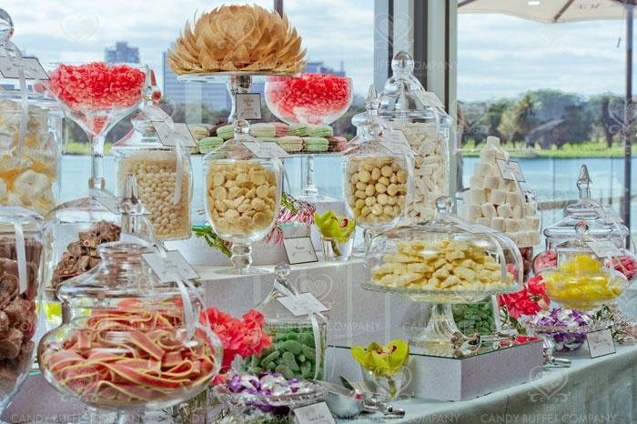 *I like the levels and different jars*  Wedding Candy Buffet