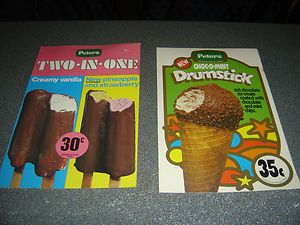 2-X-Peters-ice-cream-sign-poster-with-card-Drumstick-Two-In-One-70s-Milk-Bar
