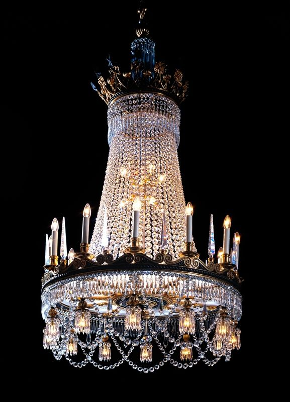 Ornate Regency Chandelier by Thomas Hope 1800 - recreated by Wilkinson in collaboration with Jocelyn Burton Silversmiths & Goldsmiths, London. A total of 50 internal and external lights. Dressed with round icicles and round double pointed buttons.