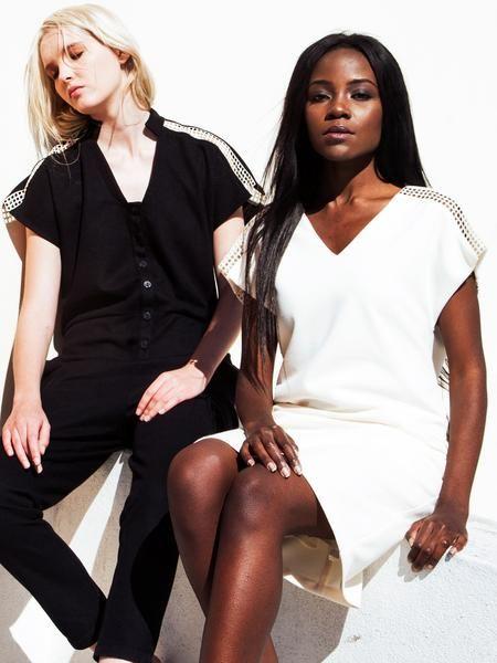 Chic minimal outfits / Ecru straight cut dress / V-neck / Black overall / white net detail