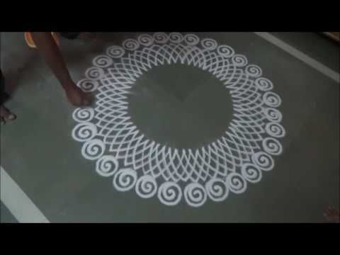 Innovative corner rangoli design using quilling comb, fork and cotton bud | Rangoli by Poonam Borkar - YouTube