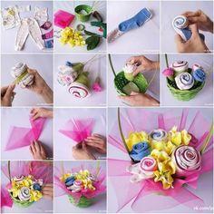 DIY Baby Shower : DIY Baby Clothes Flower Bouquet