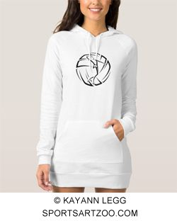 Stylized Female Volleyball Player with Ball Hoodie Dress by SportsArtZoo #volleyball #female #hoodie #dress