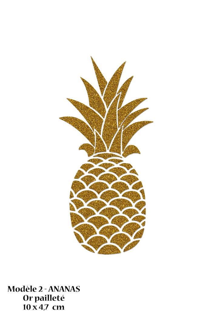 Motif Ananas 10 cm en flex thermocollant or pailleté