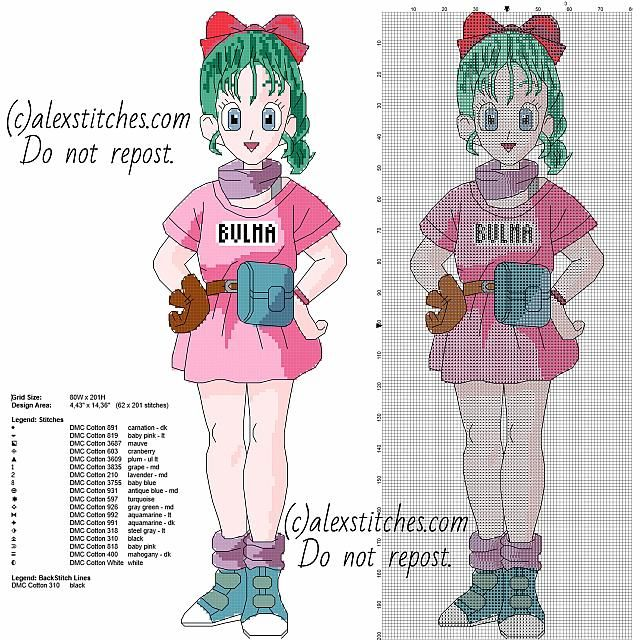 Bulma Dragon Ball Manga Anime Character Free Cross Stitch Pattern
