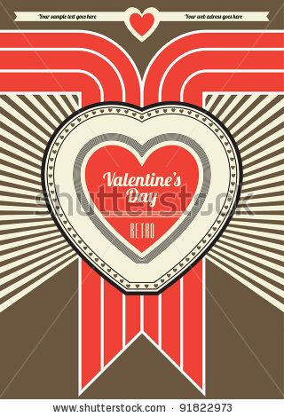 Valentines Day Retro Poster Design - Brown and Red by Vilmos Varga, via Shutterstock