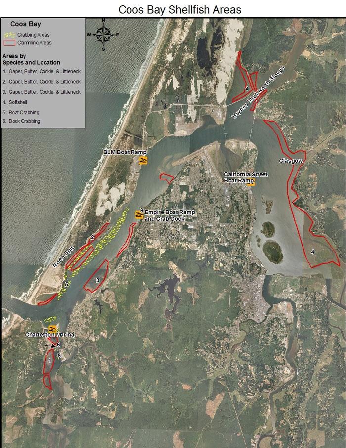 Coos Bay clamming u0026 crabbing map