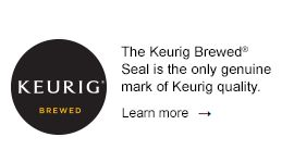 The Keurig Brewed Seal is the only genuine mark of Keurig quality. Learn more>