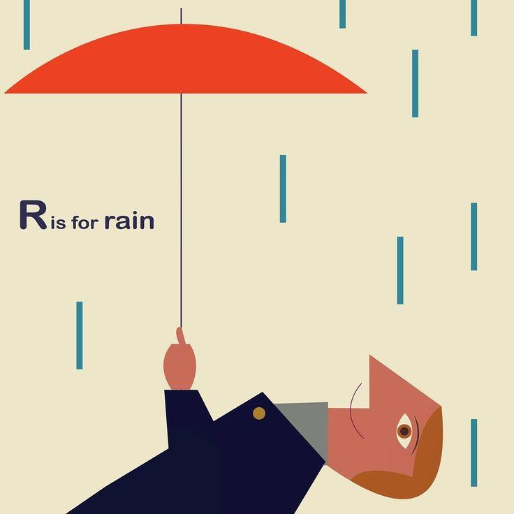 R is for rain ☔ | www.martiillustration.com