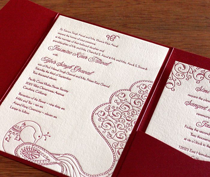 Best 25 Indian wedding invitation wording ideas – Sikh Wedding Invitation Cards