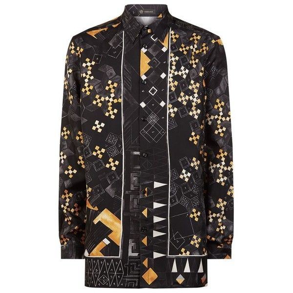 Versace Checkerboard Medusa Shirt ($985) ❤ liked on Polyvore featuring men's fashion, men's clothing, men's shirts, men's casual shirts, versace mens shirt, mens silk shirts, mens tailored shirts, mens formal shirts and mens shiny shirt