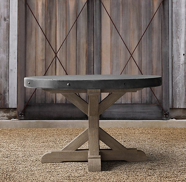 Belgian Trestle Concrete Amp Teak Round Dining Table