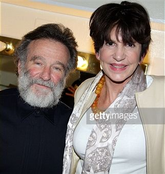 Robin Williams and Mercedes Ruehl (who co-starred in 'The Fisher King') pose backstage on Opening Night of 'Bengal Tiger at the Baghdad Zoo'on Broadway at The Richard Rogers Theater on March 31, 2011 in New York City. CREDIT: BRUCE GLIKAS