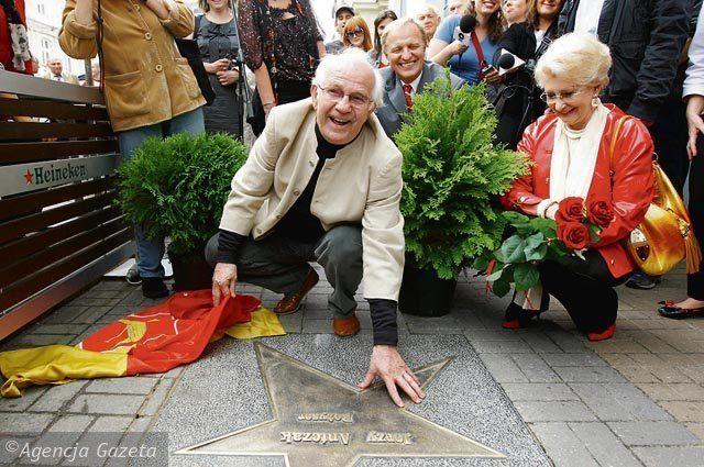 Jerzy Antczak, a Polish film director, receives his star on the Alley of Stars in Łódź, Poland.