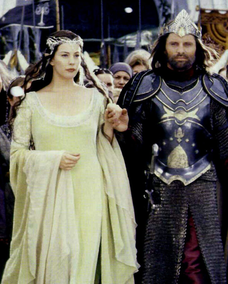 Viggo Mortensen and Liv Tyler as Aragorn and Arwen in Lord of the Rings: Return of the King.