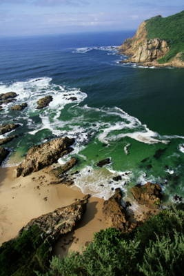 Knysna, South Africa.  It's on the Indian Ocean....the water might actually be swimmable.