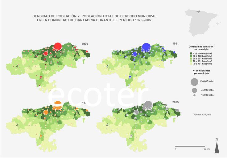Mapa de densidad de población de Cantabria. Uno de mis mapas preferidos
