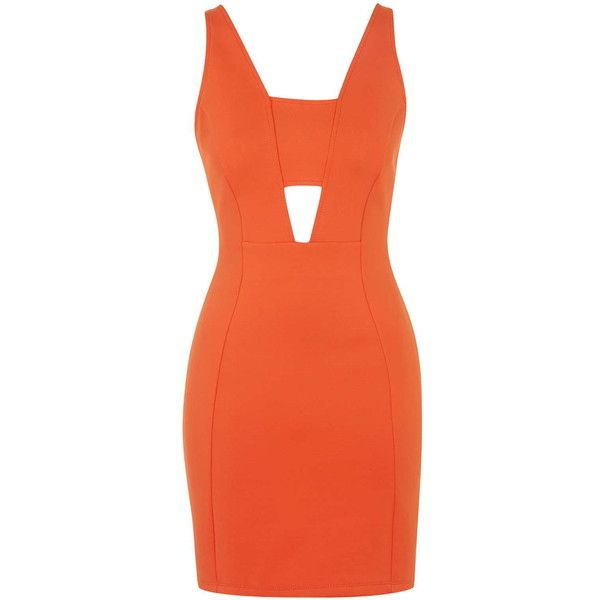 TOPSHOP Bralet Bodycon Dress (360 VEF) ❤ liked on Polyvore featuring dresses, vestidos, orange, orange dress, body con dress, cut out dress, orange bodycon dress and bodycon dress