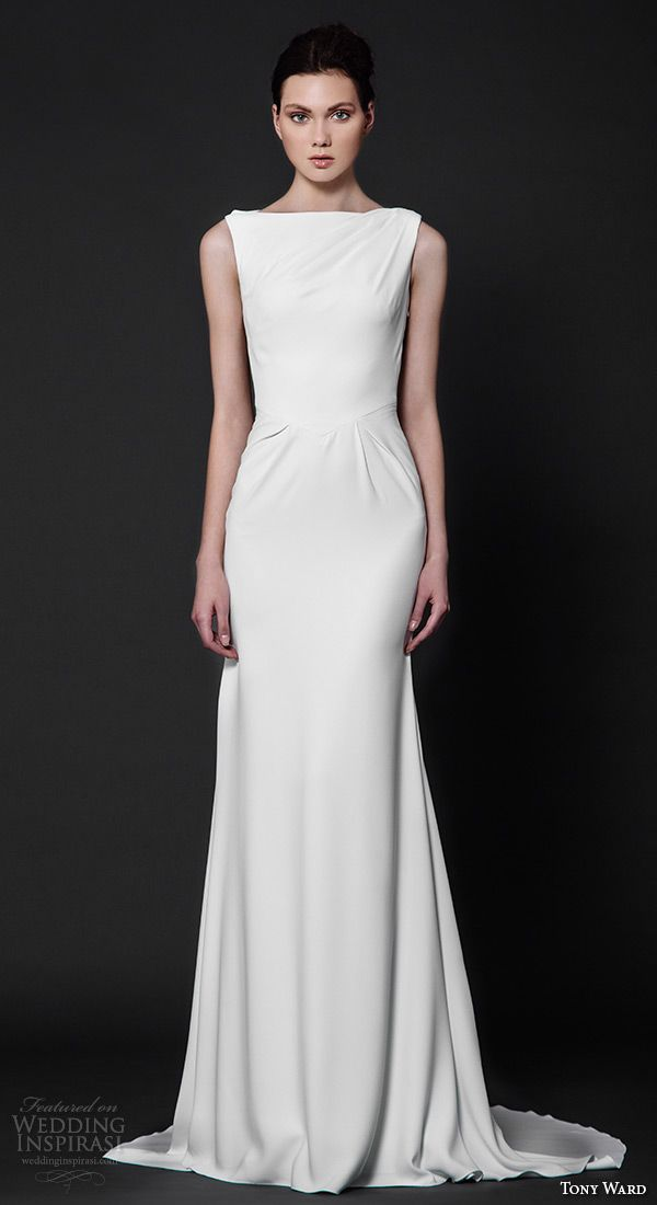Bateau neckline sleeveless clean chic sheath wedding dress aster