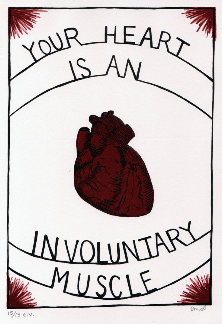 Your Heart is an Involuntary Muscle - hand pulled lithograph print by Erin Dollar
