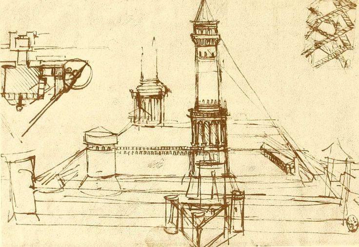 dessins Léonard de Vinci - Dessins Leonard de Vinci - etude d architecture - tours pour le chateau de milan - Gravures, illustrations, dessins, images