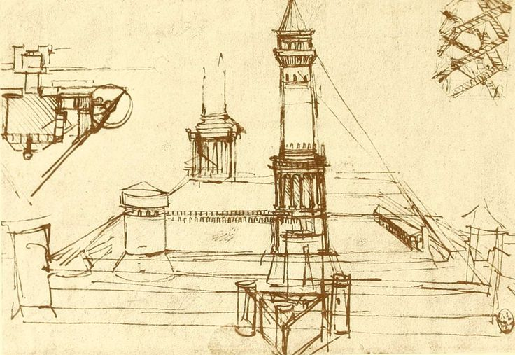 Leonard de Vinci - Etude d'architecture - tours pour le château de Milan